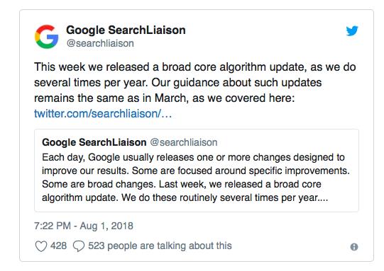 Google об обновлении алгоритма