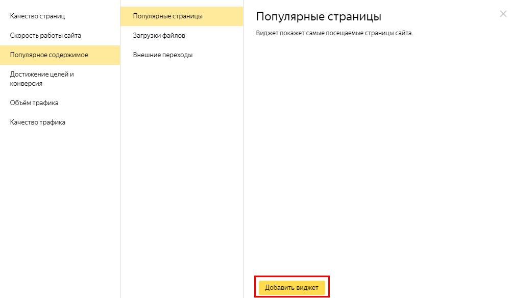 Стандартные виджеты в Яндекс.Метрике