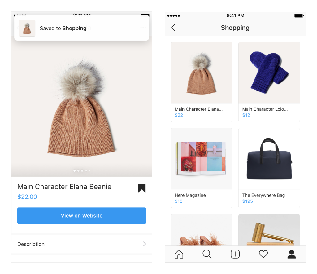 Instagram Shopping Save