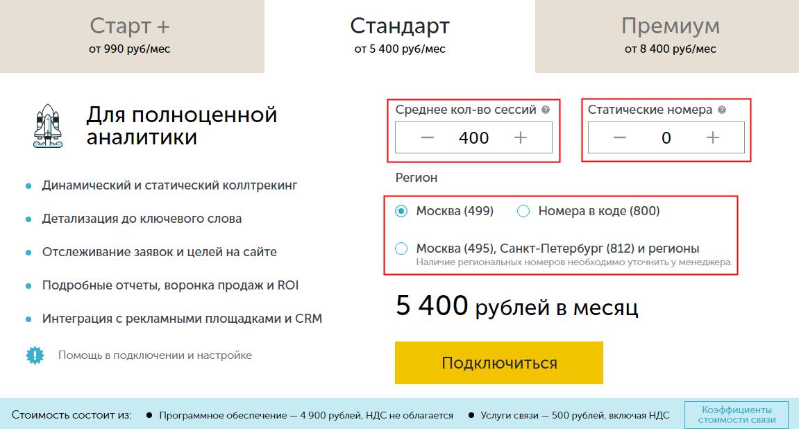 Расчет стоимости пакета Calltouch
