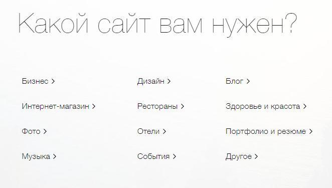 Выбор сайта на Wix