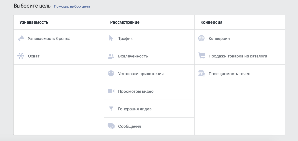 цели рекламной кампании facebook