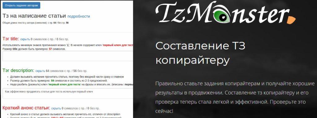 Сервис автоматической генерации ТЗ для копирайтера TzMonster