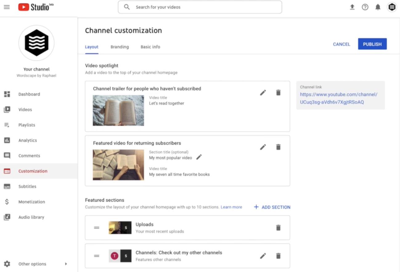 Оформление каналов YouTube Studio