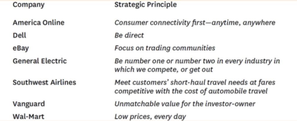 Примеры стратегических принципов