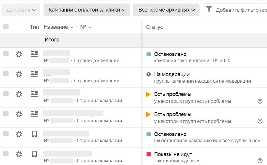 Новые статусы начали показывать состояние вложенных объектов в Яндекс.Директ