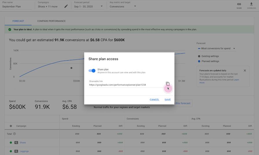 Возможность делиться планами в Google Ads