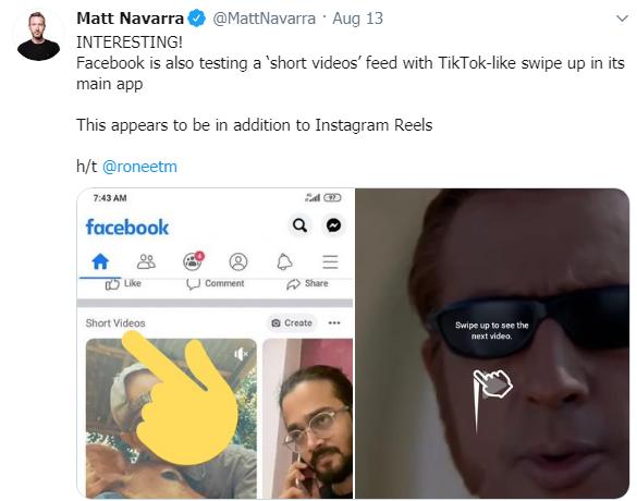 Facebook запустил тест коротких видео в формате TikTok в основном приложении