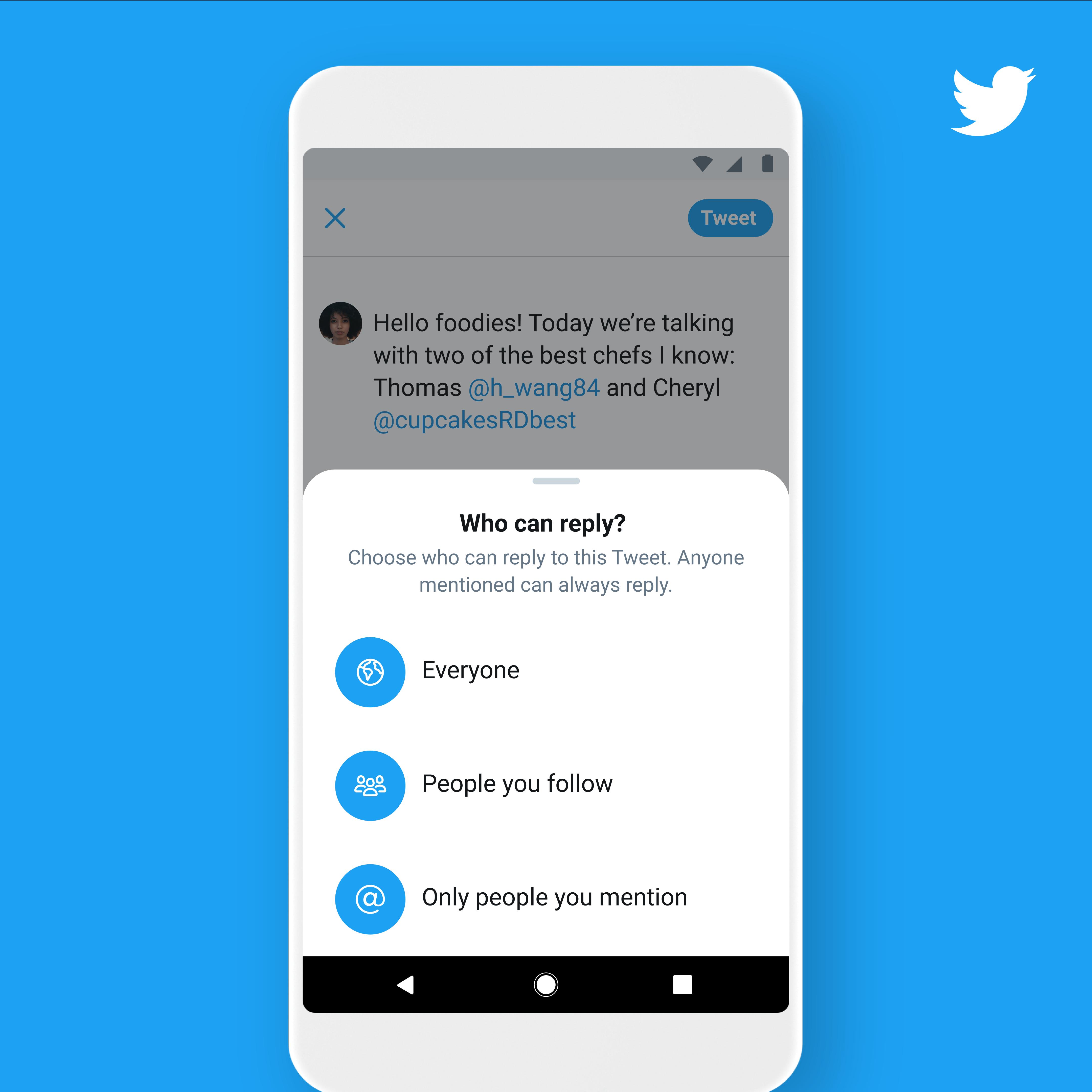 Twitter позволяет выбирать пользователей, отвечающих на твиты