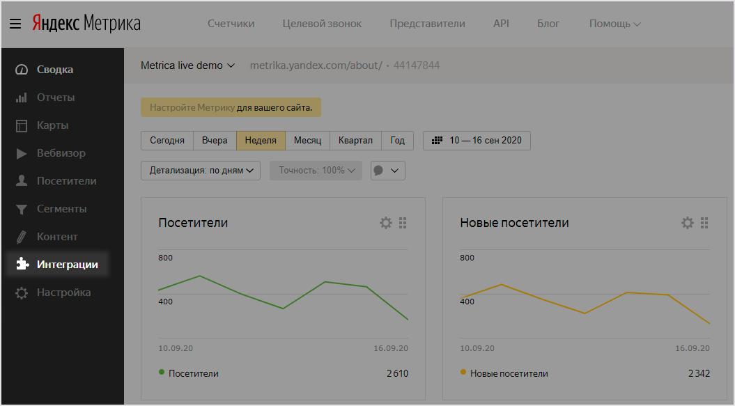 В интерфейсе «Яндекс.Метрики» появились сервисы для быстрой настройки