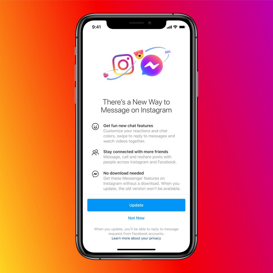 Facebook внедрила чаты между пользователями Instagram и Messenger