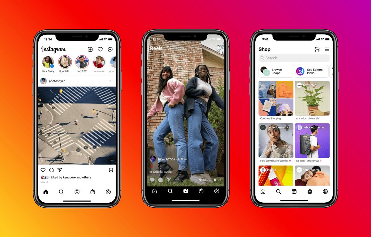 В Instagram появились вкладки Reels и Shop на главном экране