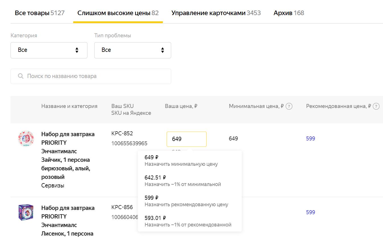 В личном кабинете «Яндекс.Маркета» появилась вкладка «Слишком высокие цены»