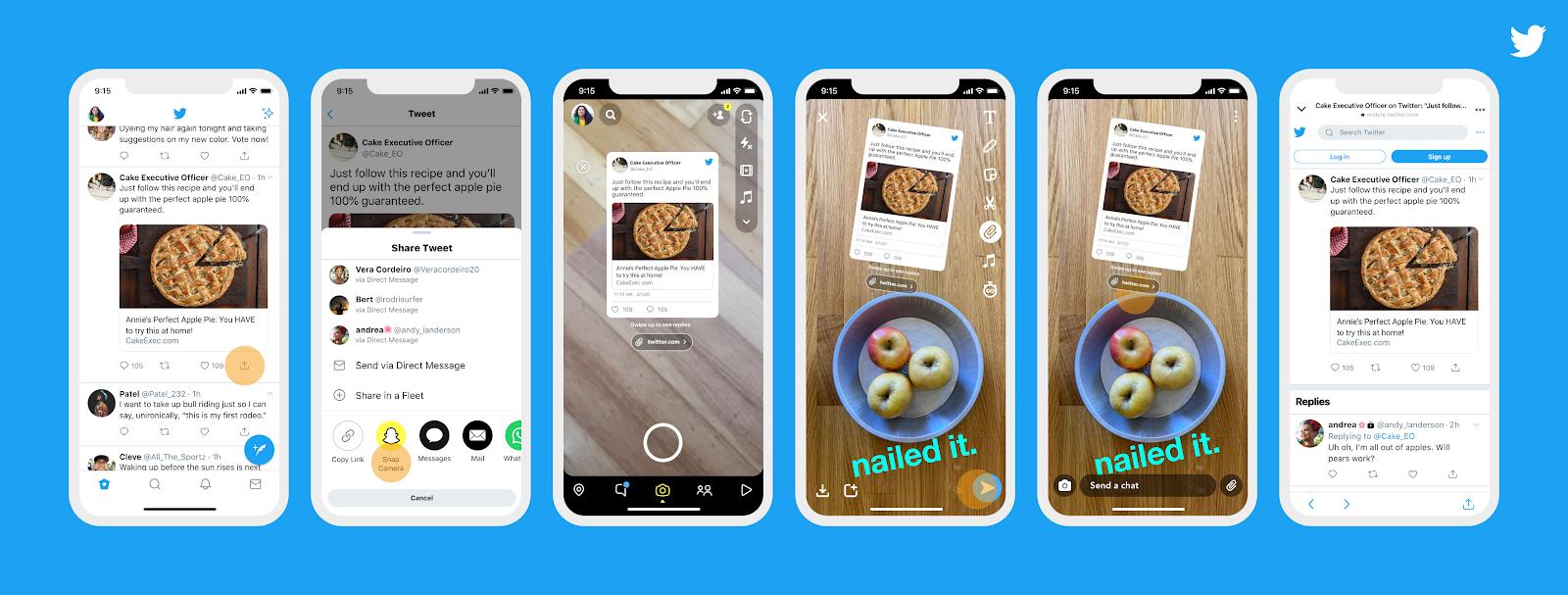 Пользователи Twitter могут делиться своими твитами в Snapchat