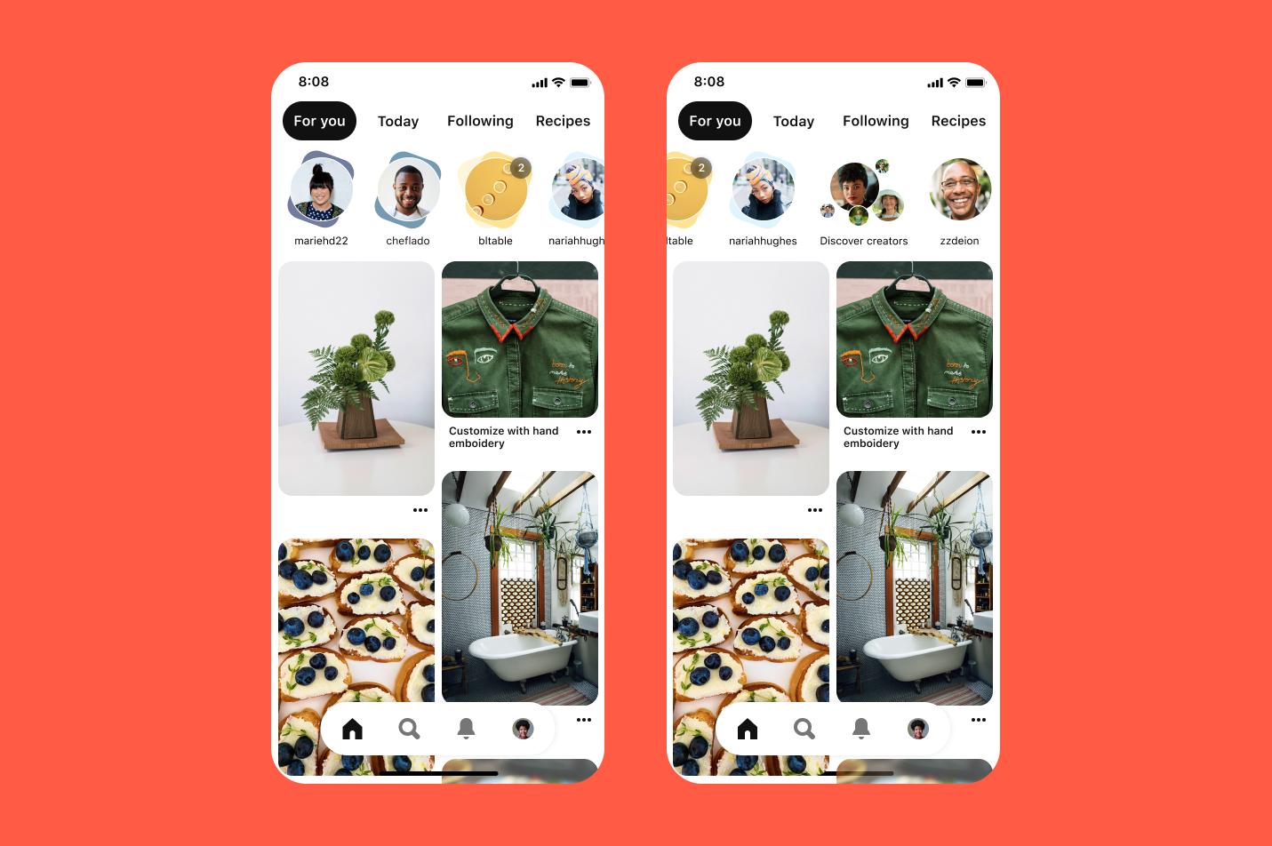 Pinterest запустил карусель историй в мобильном приложении
