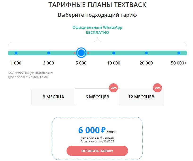Тарифы TextBack