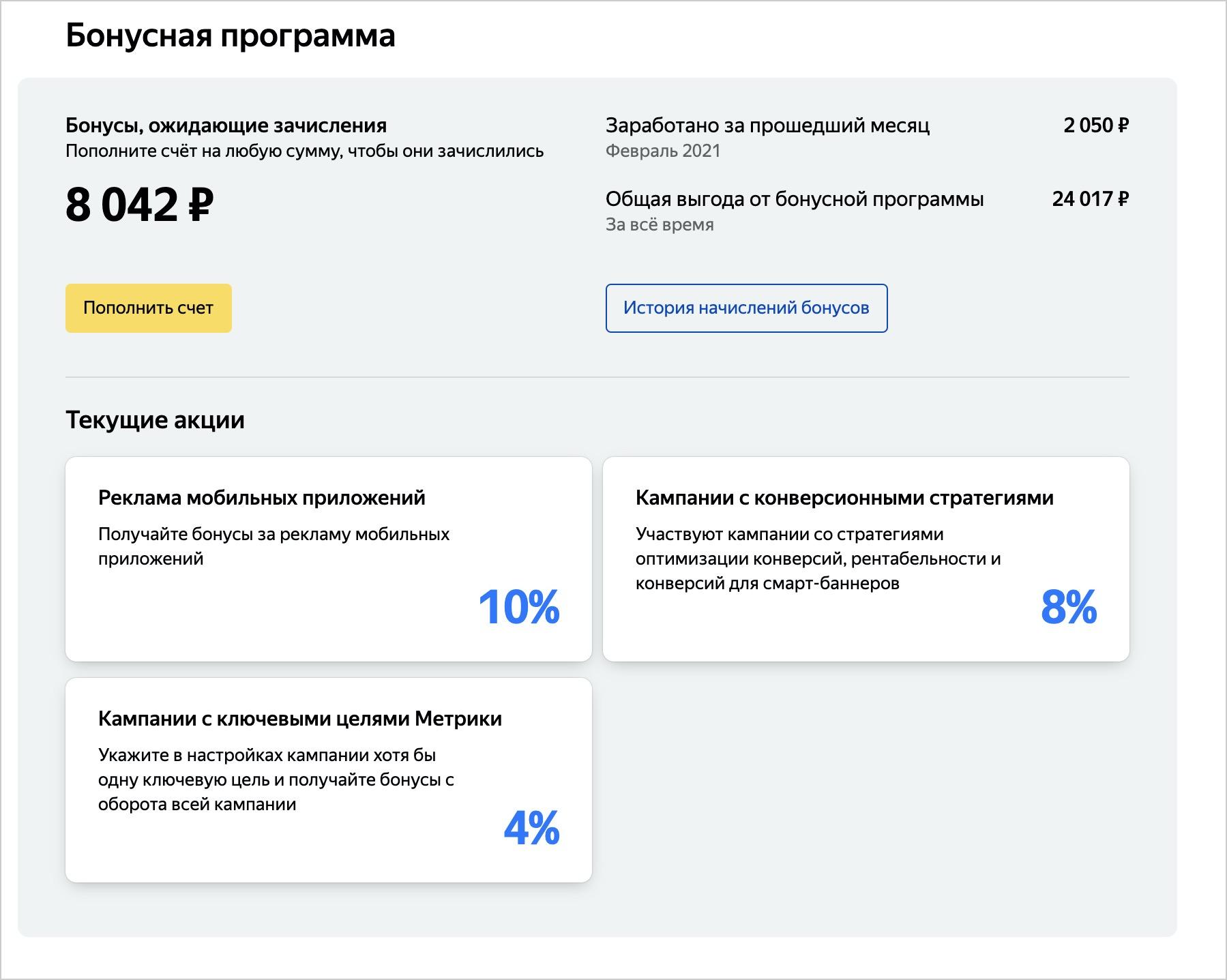 Бонусы в «Яндекс.Директе» доступны всем рекламодателям