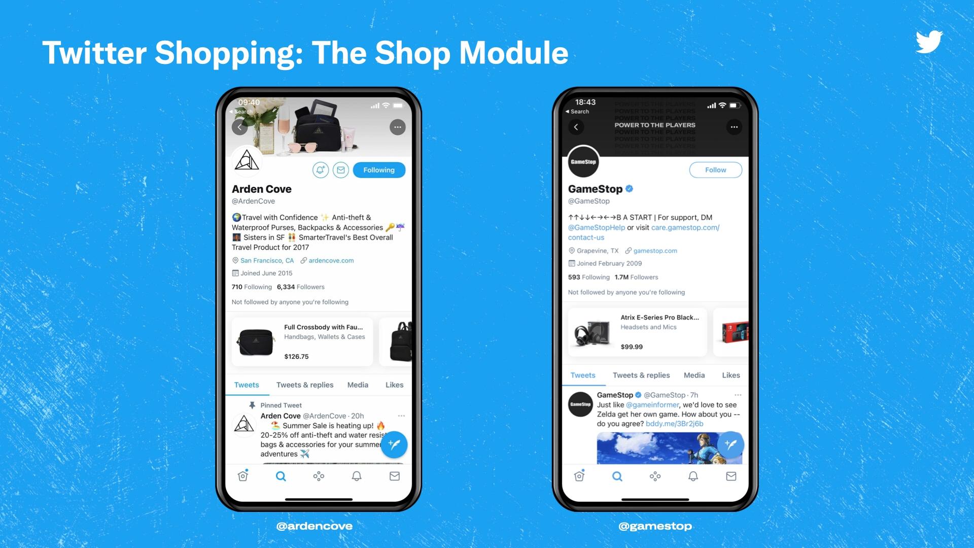 Twitter тестирует отображение товаров на страницах брендов