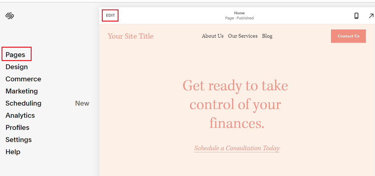 Работа со страницами сайта
