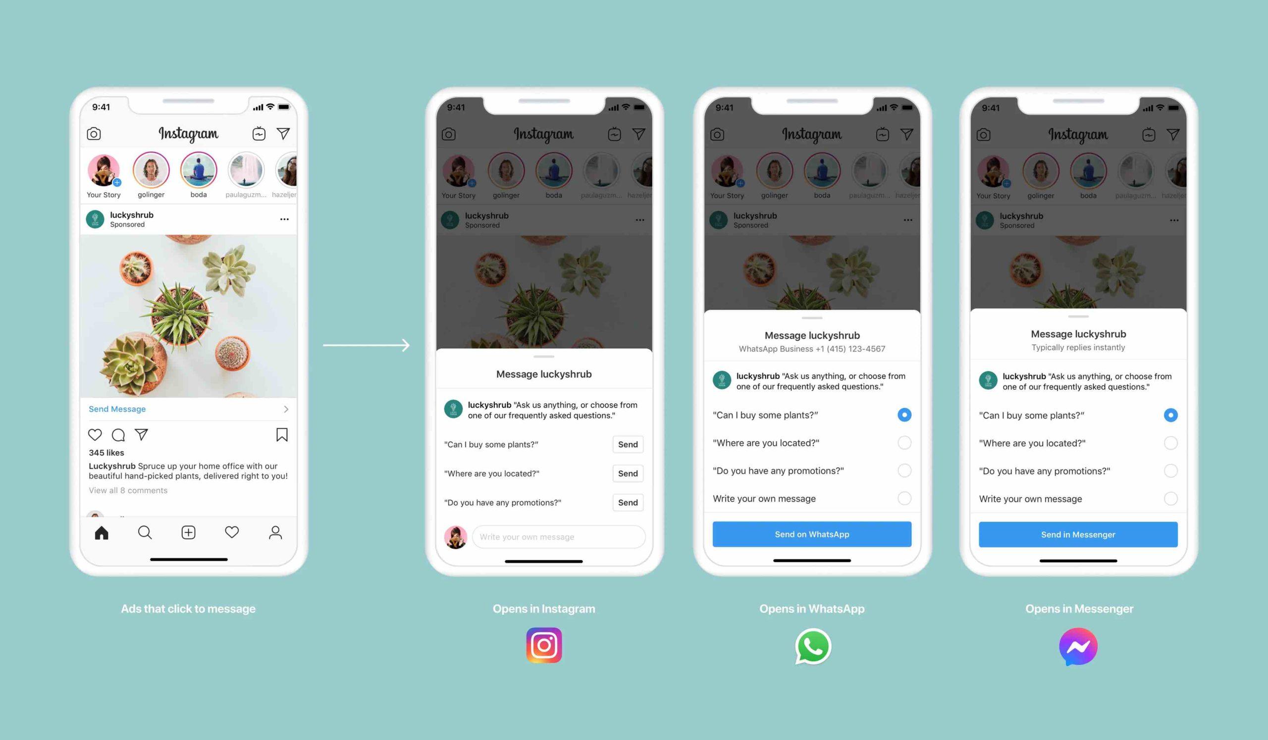 Реклама в Instagram, ведущая в WhatsApp